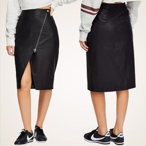 Free People Wrapped Up Faux Leather Skirt